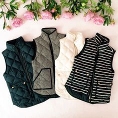 quilted puffer vests - love! Evergreen and navy blue are preferred colors