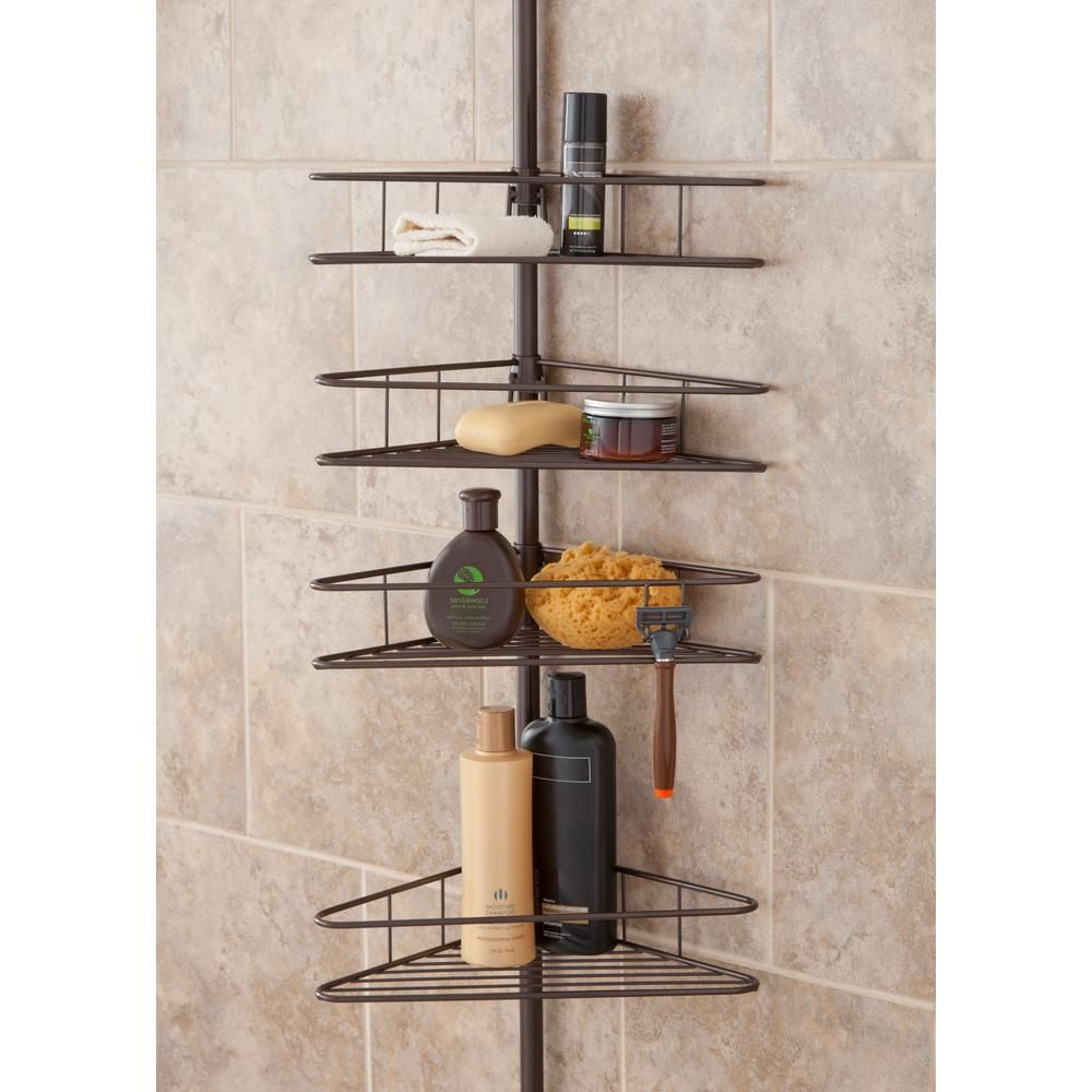 Kenney Oil Rubbed Bronze 4 Tier Triangle Basket Tension Pole