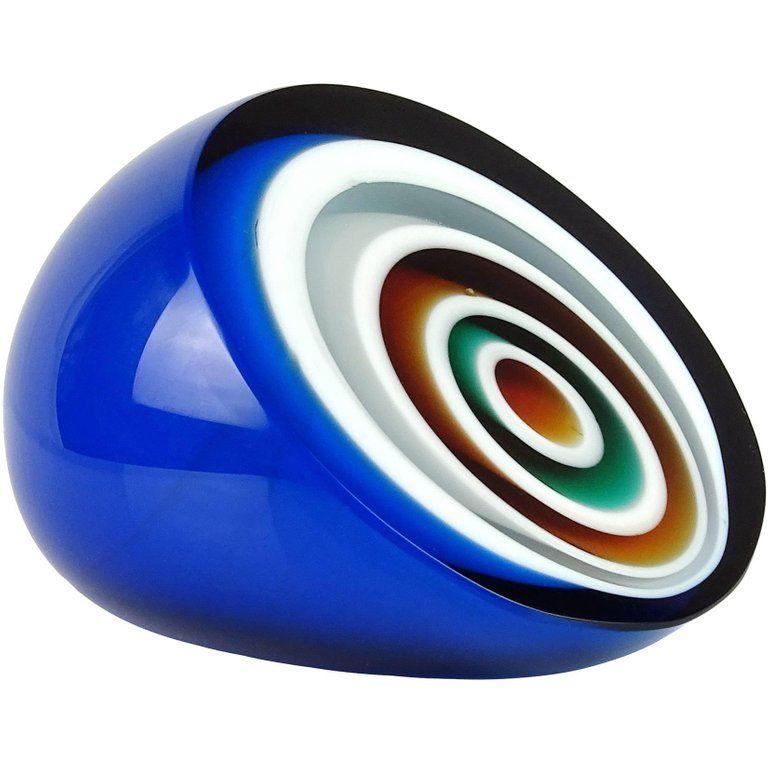 Vistosi murano blue white orange black bullseye italian art glass paperweight 1stdibs com