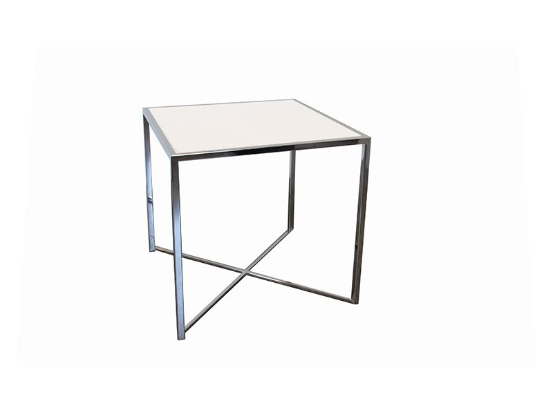 White Plexi U0026 Chrome Square Bistro Table (Note: There Will Be Both White And
