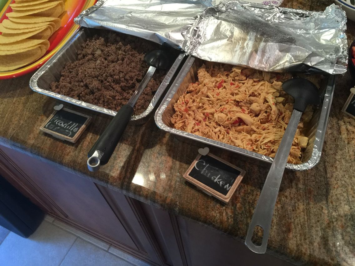 Shredded chicken and picadillo for taco shells...small chalkboards were a great decor hit