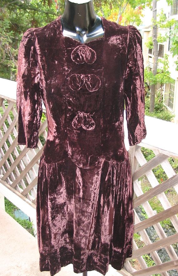 1940's Vintage Velvet Party Dress SMALL 35 by MyVintageHatShop, $42.00