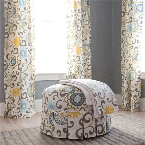 Round Hassock with Tailored Skirt and Hidden Tab Drapes Spa Pom Pon | Carousel Designs 500x500 image