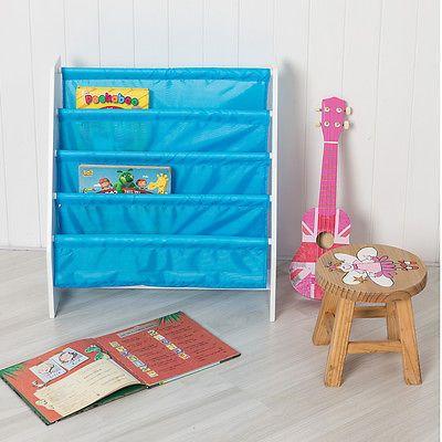 Children S Sling Bookcase In Blue Bookkh Storage