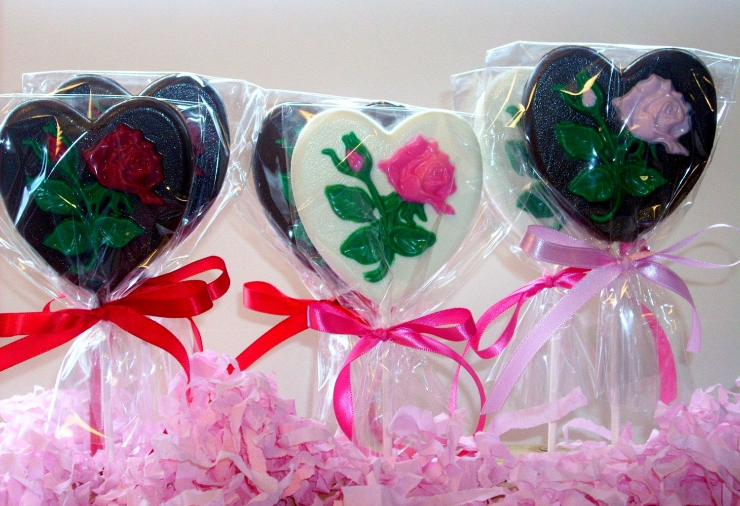 Large Chocolate Heart and Rose Lollipops weddings showers birthday ...