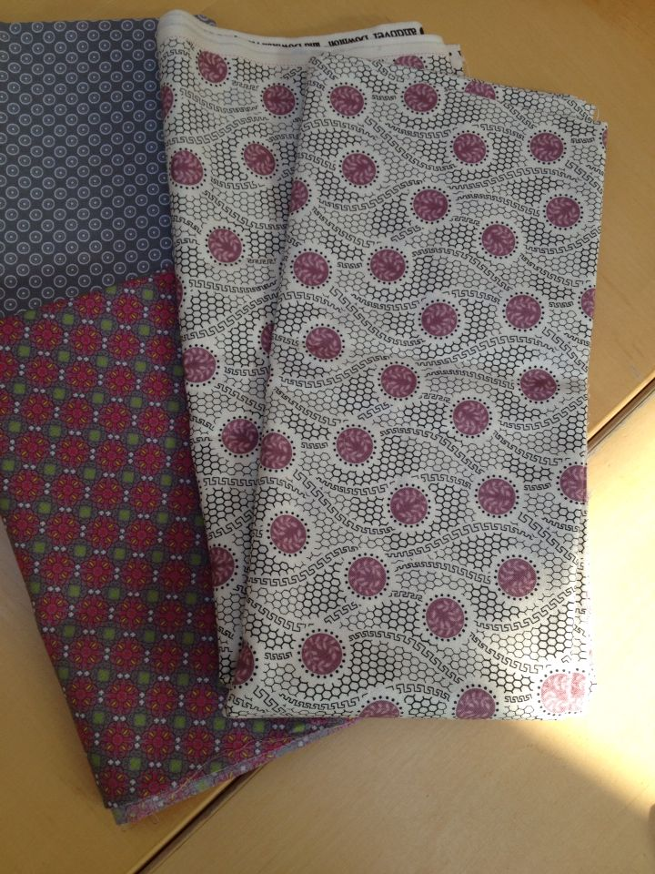 Lovely fabrics bought at last week's Knitting and Stitching show. Too pretty to use!
