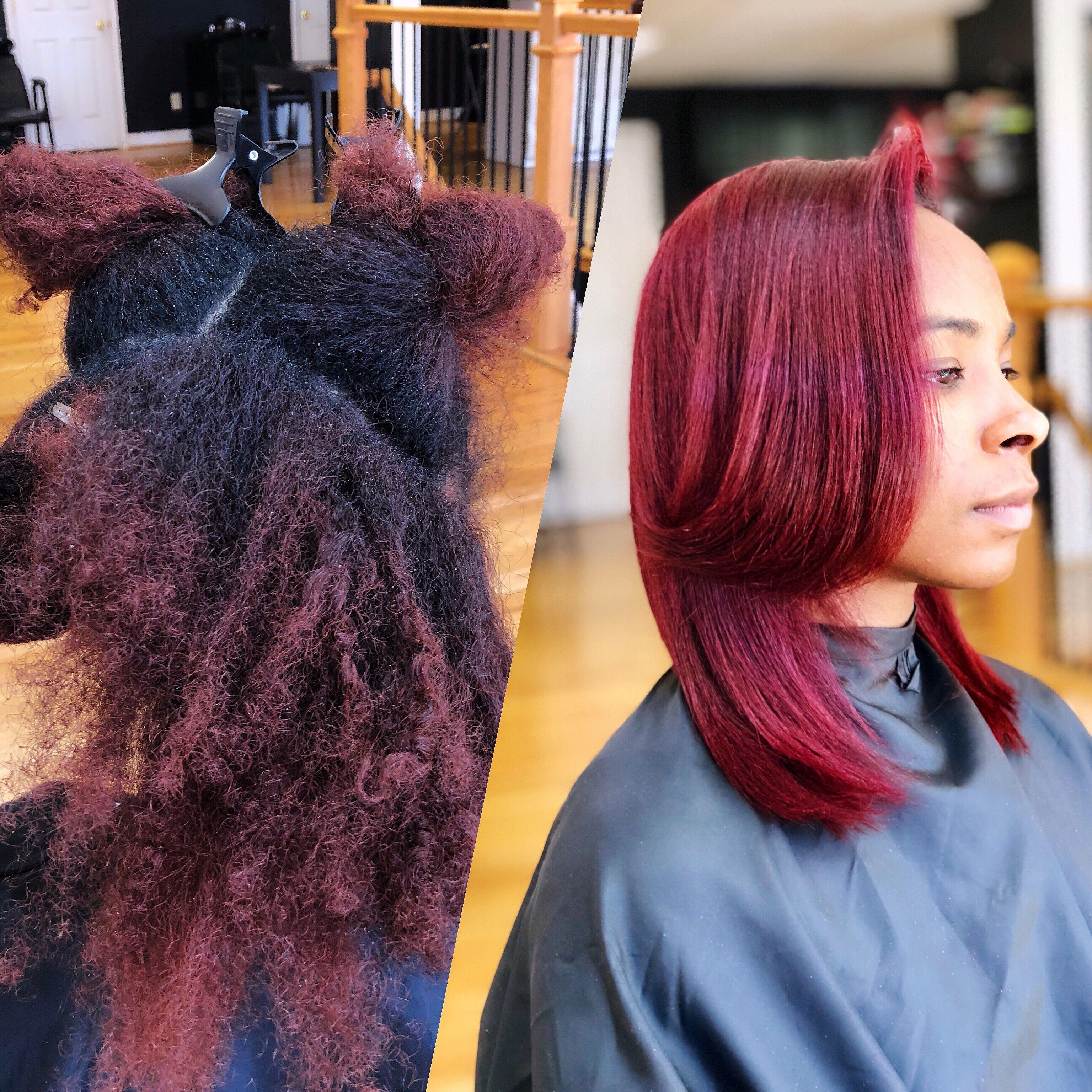 Silk Press Color pinkandblackhairstudio Natural hair ...