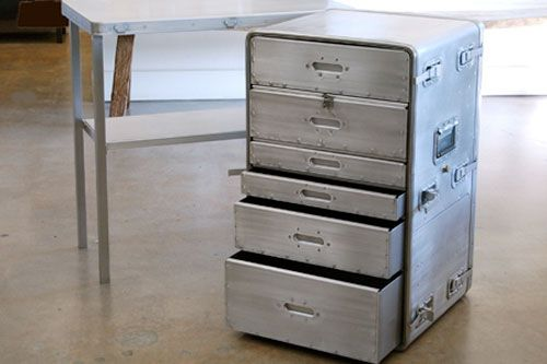 """Aluminum 3-Part Field Desk with Drawers from Sonrisa, 1,250 USD"" a summary of flat files from apartment therapy"