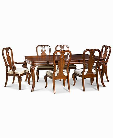 Furniture Closeout Bordeaux 7 Piece Dining Room Furniture Set Created For Macy S Dining Table 2 Queen Anne Arm Chairs 4 Queen Anne Side Chairs Revi In 2020 Dining Room Furniture