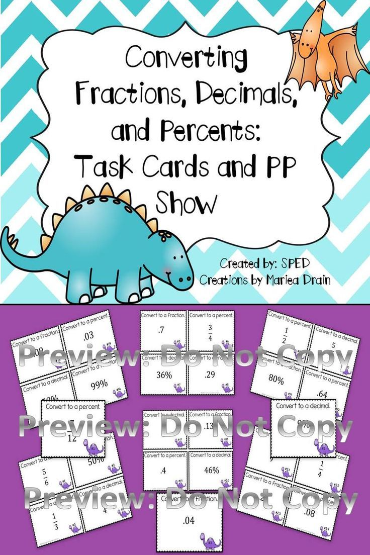 Converting Fractions, Decimals, and Percents: Task Cards and PP Show ...