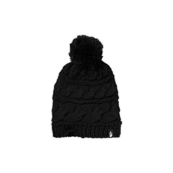 low priced d0120 8990d The North Face Women s Triple Cable Pom Beanie Hat ( 30) ❤ liked on  Polyvore featuring accessories, hats, black, slouchy beanie, slouch hat, pom  pom beanie ...