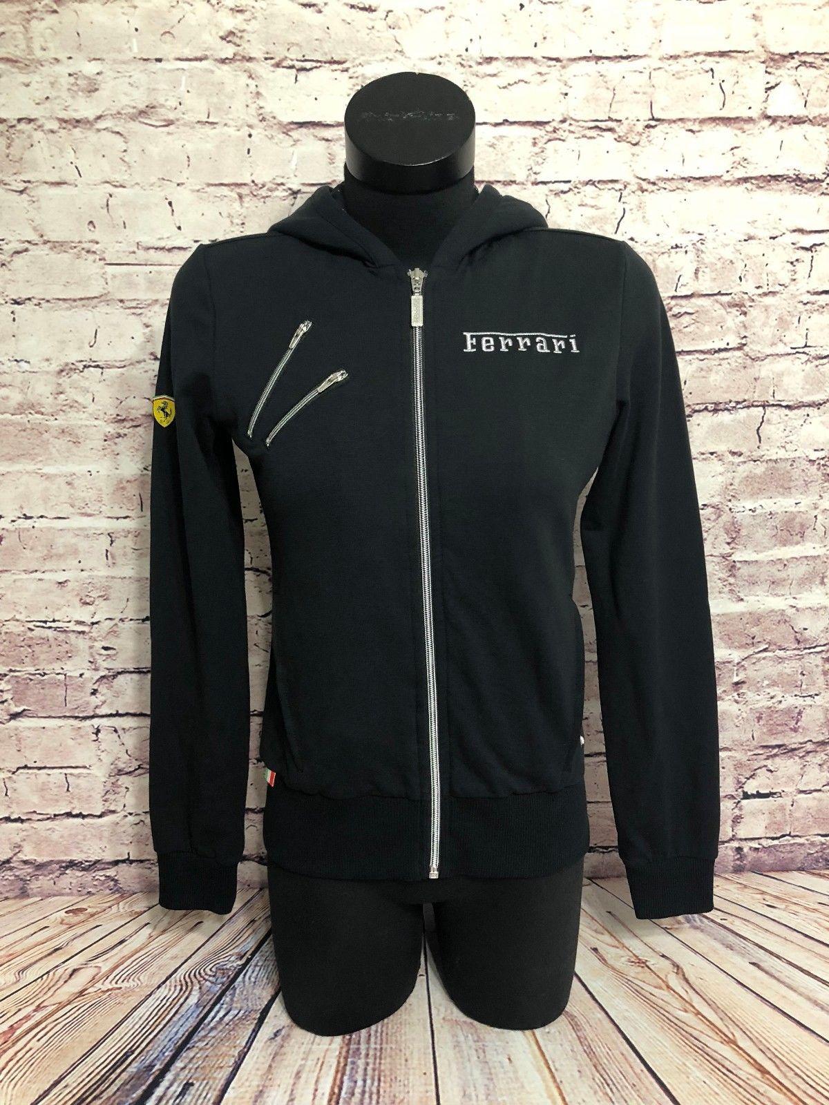 437499179716 Ferrari Scuderia Puma Womens Black Sport Lifestyle Hooded Zip Up Track  Jacket S