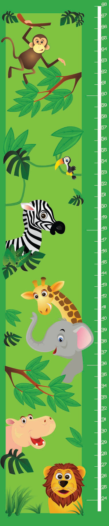 Childrens JUNGLE ANIMALS growth chart by RushWorksGraphics on Etsy, $30.00