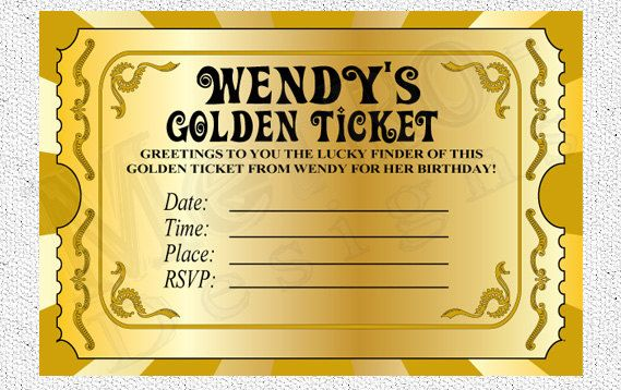 Chocolate Factory Golden Ticket Digital File PRINTABLE DIY