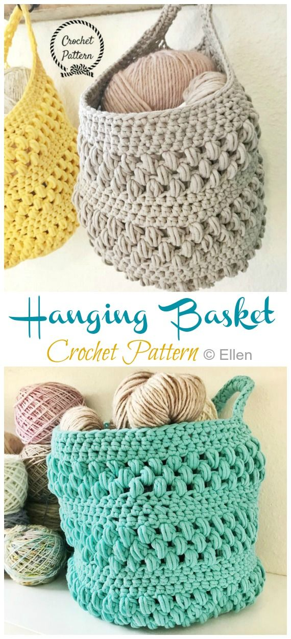 Hanging Sack Basket Crochet Free Pattern #craftsaleitems