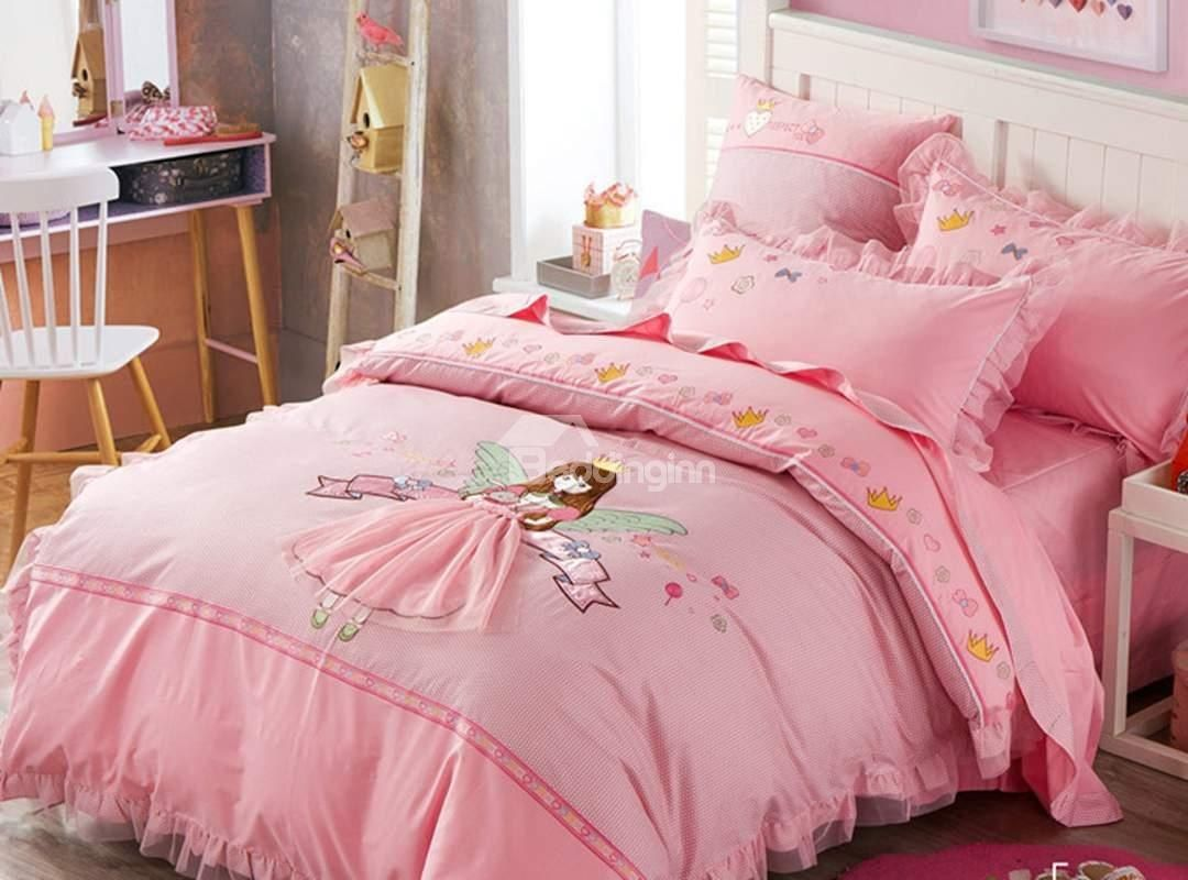 Princess Style Girl Pattern 4 Pieces 100 Cotton Duvet Cover Sets Luxury Bedding Sets Walmart Kids Bedding Bedding Sets