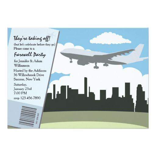 "Taking Off Farewell Party Invitation 5"" X 7"" Invitation Card"