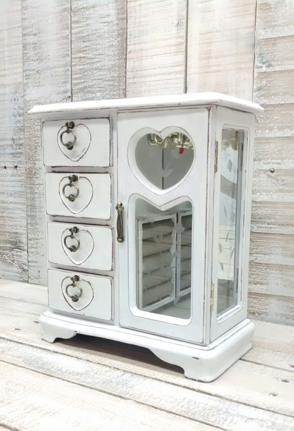 Shabby Chic Jewelry Box Armoire Painted Snow White and Distressed