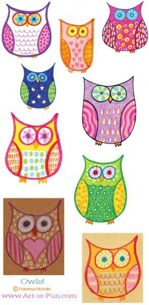 hand drawn owls for the kids fun and easy for the kids
