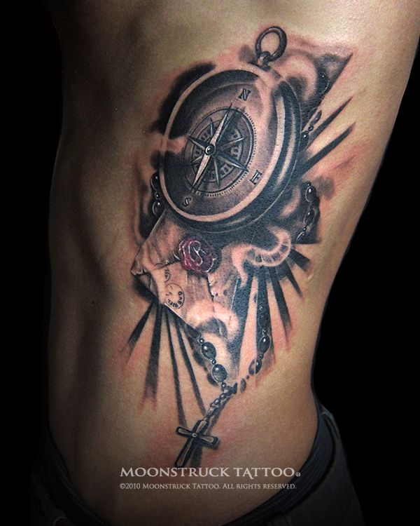 239364ec3 compass tattoos for women | Compass Tattoo For Men Compass & rosary tattoo  for