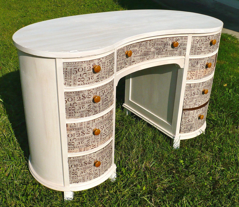 Desk Kidney Desk Vanity Jamestown Furniture 1950s Dresser Vintage Desk  REDUCED