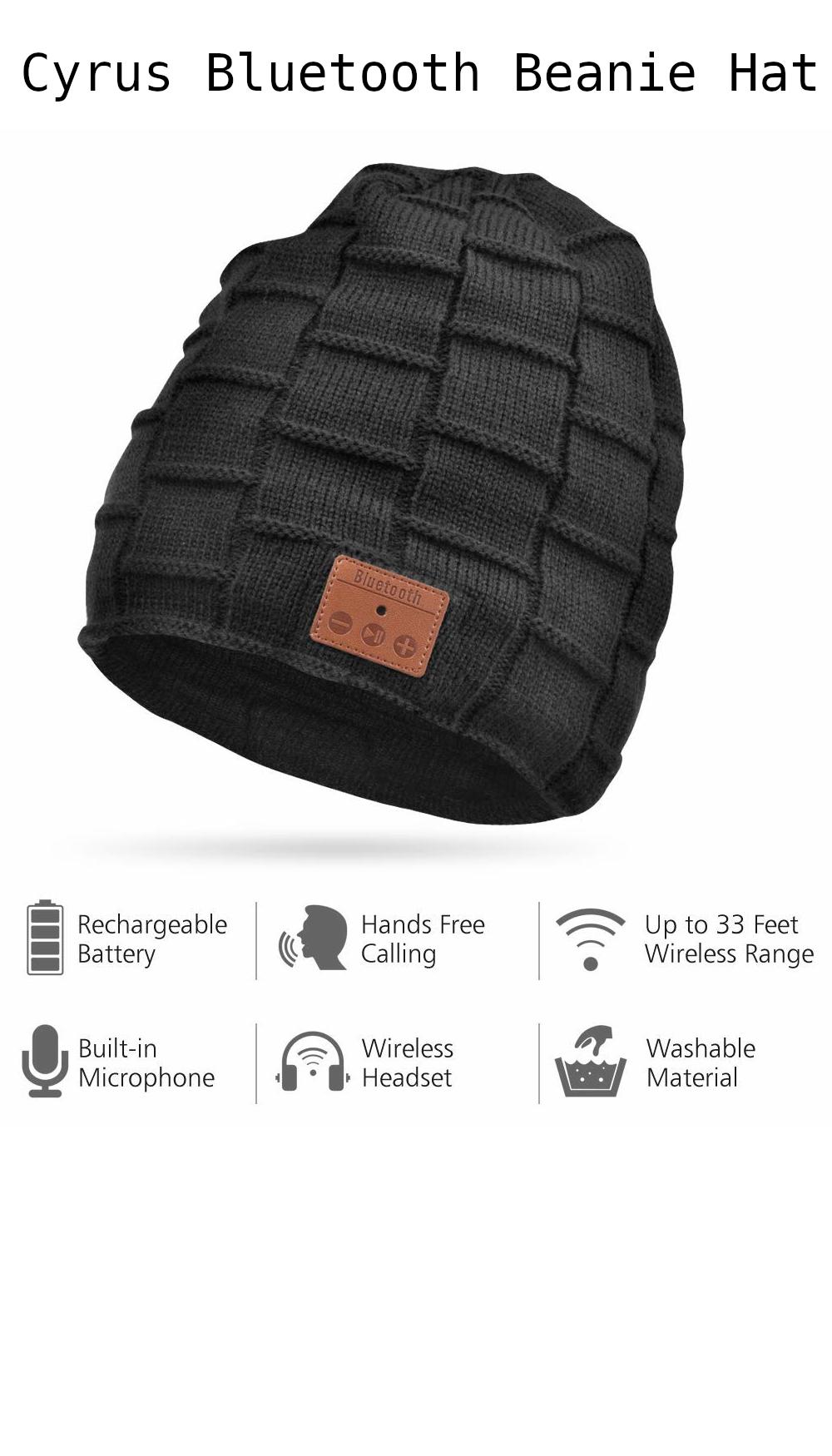 Cyrus Bluetooth Beanie Hat Winter Warm Music Hat-Smart Beanie Hat-Unisex  Washable Hat-for Ourdoor Sports Fitness(Black)  bluetooth  workout  music   staywarm 997dc461dde