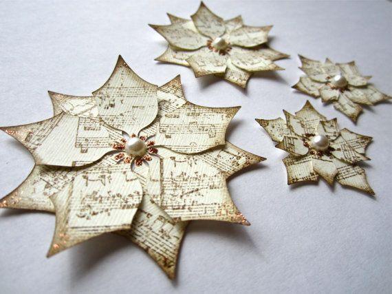 Paper Poinsettias, Ivory, Christmas, Decor, DIY, Handmade - christmas decorations diy