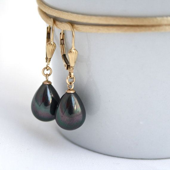 Black pearl earringsmetallic black pearl earrings by SharonTasker