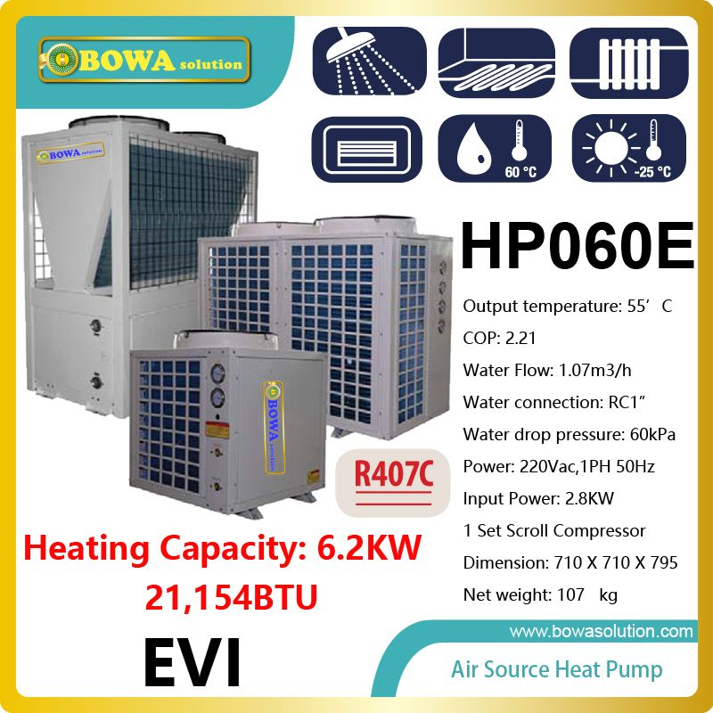 6.2KW or 21,000BTU air source water heater used in ultra
