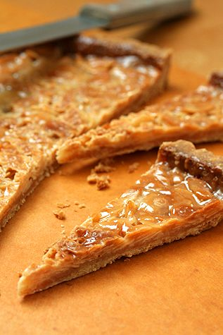 Lindsey Shere's famed recipe for Chez Panisse almond tart, caramelized nuts in a buttery tart shell, from the blog of David Lebovitz.