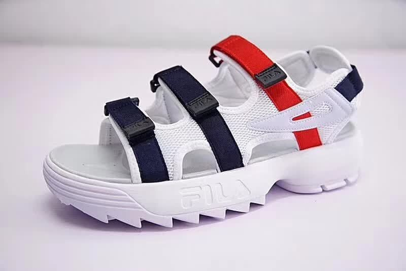 6d5f331eaf65 Women FILA Disruptor Sandals White Dark Blue Red