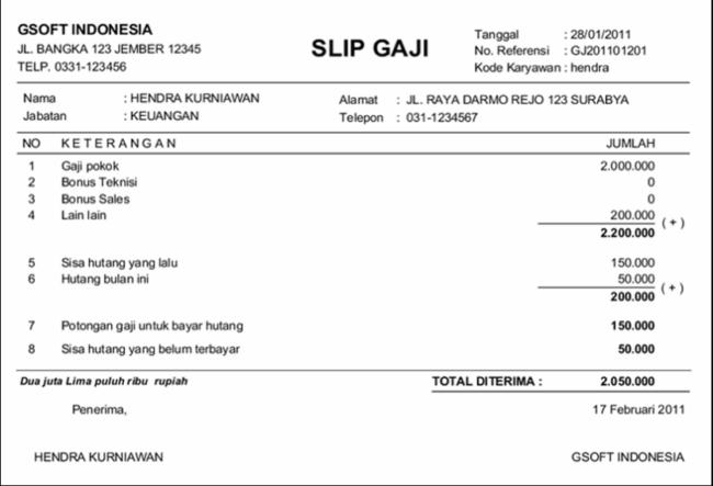 Slip Gaji Karyawan Excel Slip On Some Pictures