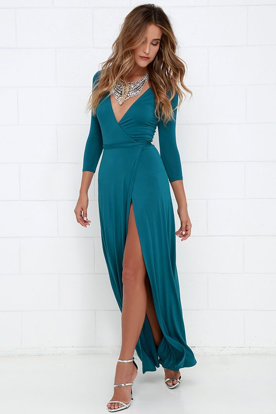 1e1d8e3b329a0 Shop Black Wrap Front Plunge Long Sleeve Split Maxi Dress from choies.com .Free  shipping Worldwide.$18.99?utm_source=web   Design that I love in 2019   Maxi  ...