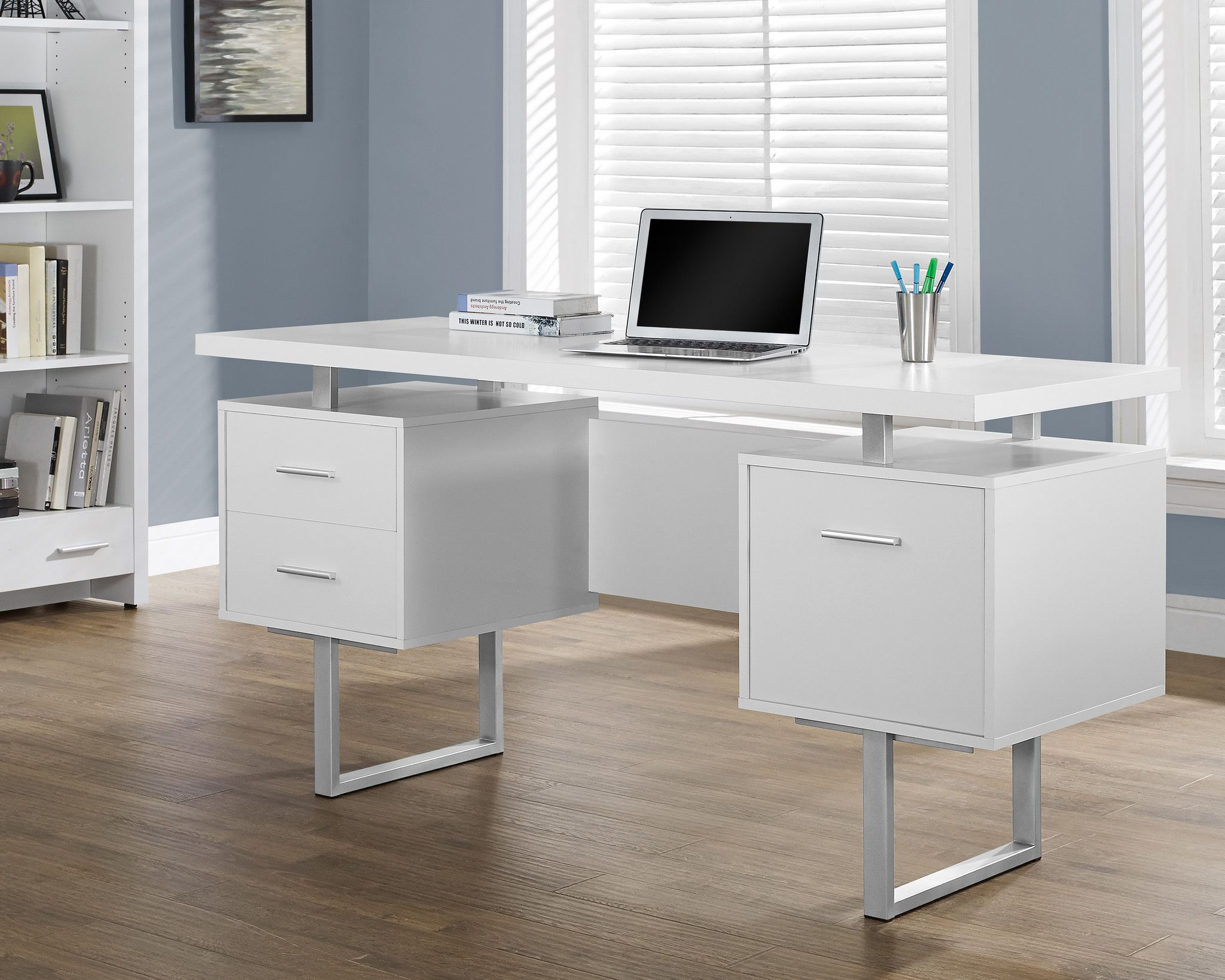Computer Desk 60 L White Silver Metal White Desk With Drawers White Desk Office Metal Office Desk