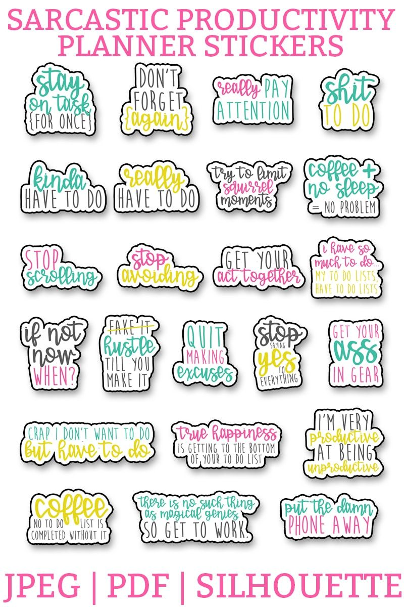 Best Funny Life Sarcastic Productivity Planner Stickers - Funny To Do Planner Stickers Free Sarcastic productivity planner stickers. Download this set of funny, sarcastic stickers, to help you complete your to do list. Perfect for the Happy Planner, Erin Condren, Reflections, etc. #planneraddict #plannerlover #plannerprintables 6