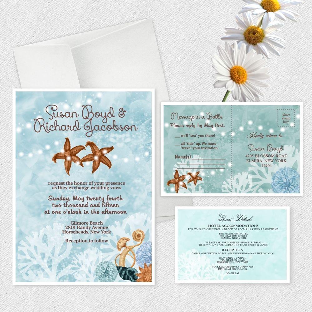 Beach Wedding Invitations Custom Personalized Invites Bridal Shower