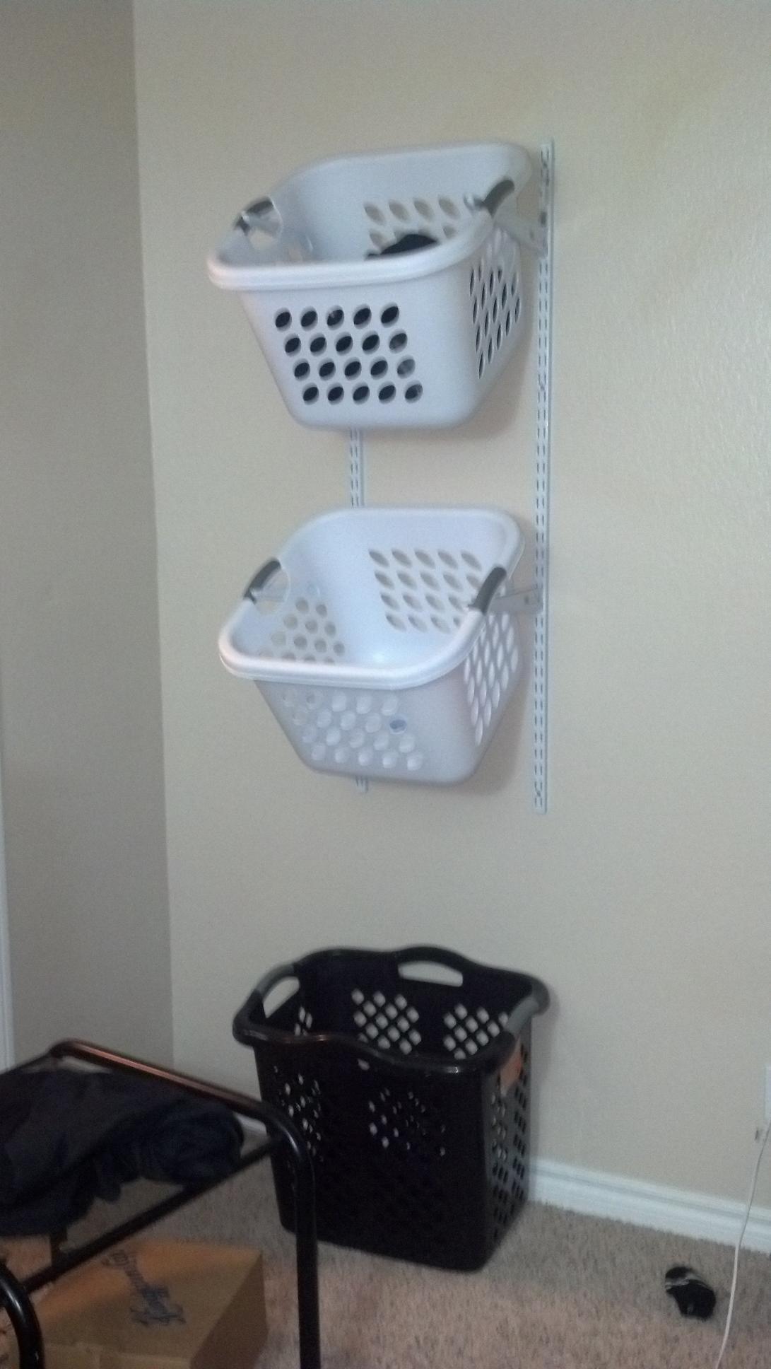 Hanging Laundry Baskets Using Shelf Brackets My Very First
