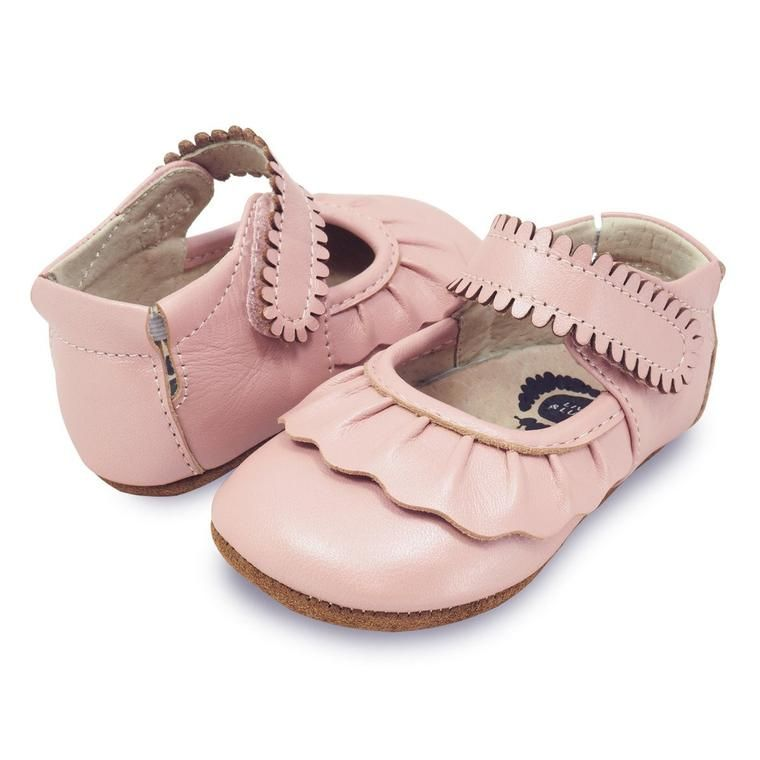 Adorable light pink Ruche baby shoe