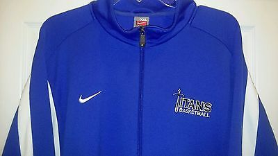 Nike Fit Titans Basketball Warm Up Track Jacket EUC Mens XXL Royal Blue Sword