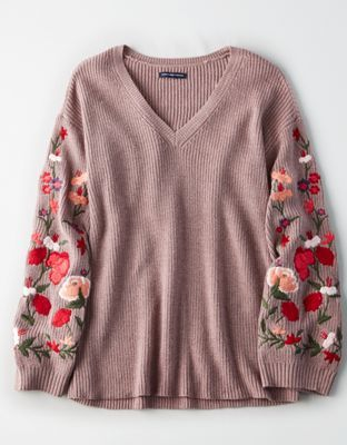 7d4751c9cbe4b6 AE Embroidered Bell-Sleeve Sweater by American Eagle Outfitters | Sweater  weather forever.Sweater