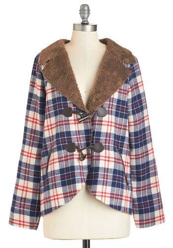 Neighborhood Trek Coat - Mid-length, Faux Fur, Knit, 2, Multi, Plaid, Pockets, Vintage Inspired, 70s, Long Sleeve, Fall