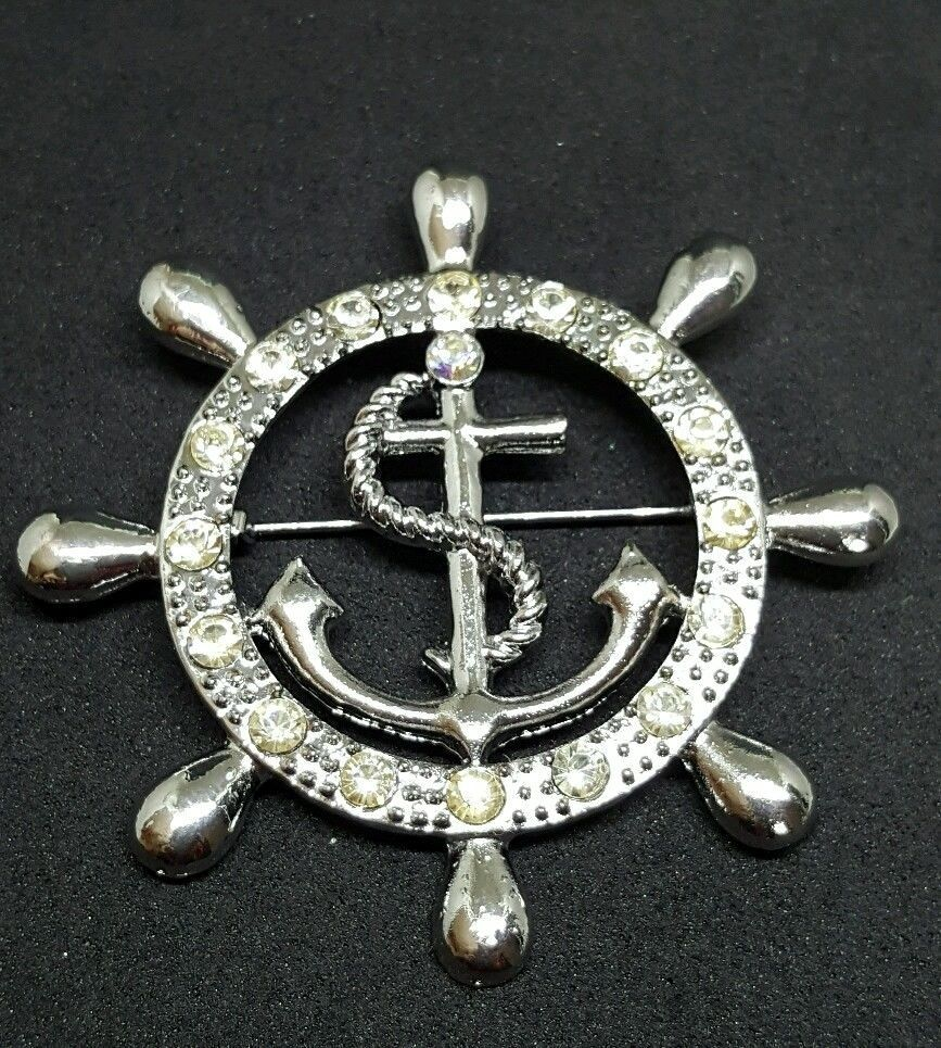 Captivating Silver Tone Nautical Brooch Lapel Pin Ship Wheel Anchor Rhinestones Crystals  #Unbranded