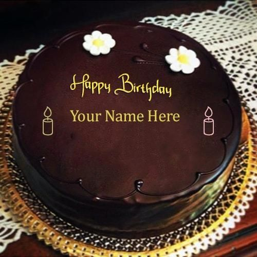 Chocolate Happy Birthday Cakes Images With Name Edit Online Write