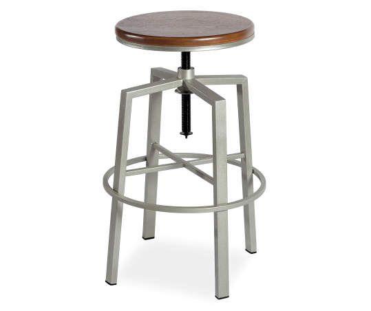 Dorian Silver Backless Adjustable Height Barstool Adjustable Bar