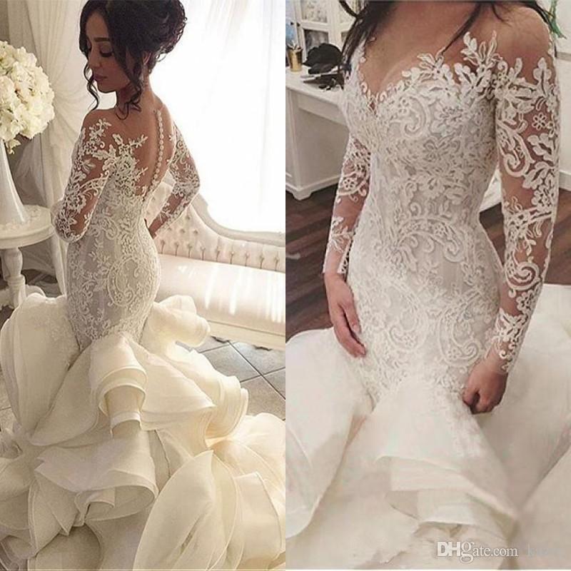 Vestido De Noiva Long Sleeves Wedding Dresses With Sheer Neck 2018 Vintage Mermaid A Modest Bridal Gowns Long Sleeve Mermaid Wedding Dress Bridal Gowns Mermaid