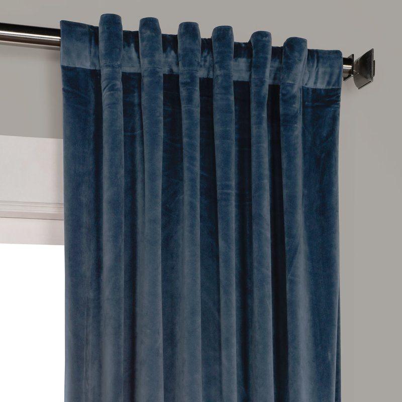 Riverton Solid Heritage Plush Velvet Rod Pocket Single Curtain