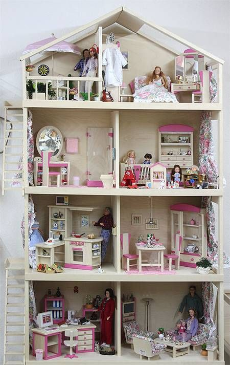 puppenhaus m bel f r 29cm puppe barbie und karinaa dolly 39 s house pinterest miniatur heim. Black Bedroom Furniture Sets. Home Design Ideas