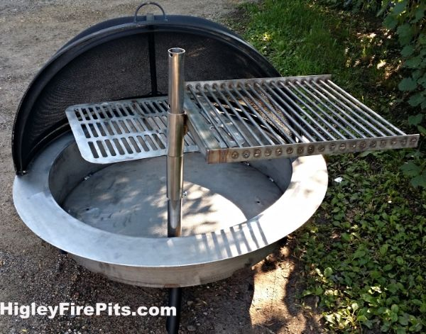 Stainless Steel Free Standing Fire Pit Safety Screen Swing Away Grills Dome Top Covers Flat Folding Inserts Liners Higleywelding Phone