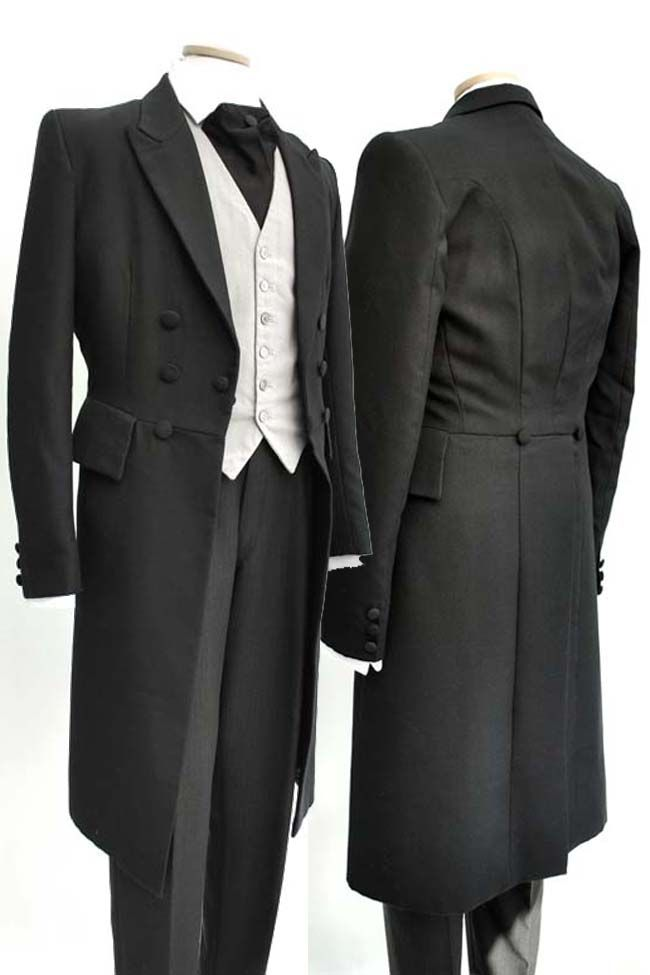 Men's Modern Black Wool Formal Wedding Frock Coat 36-38 Mens ...