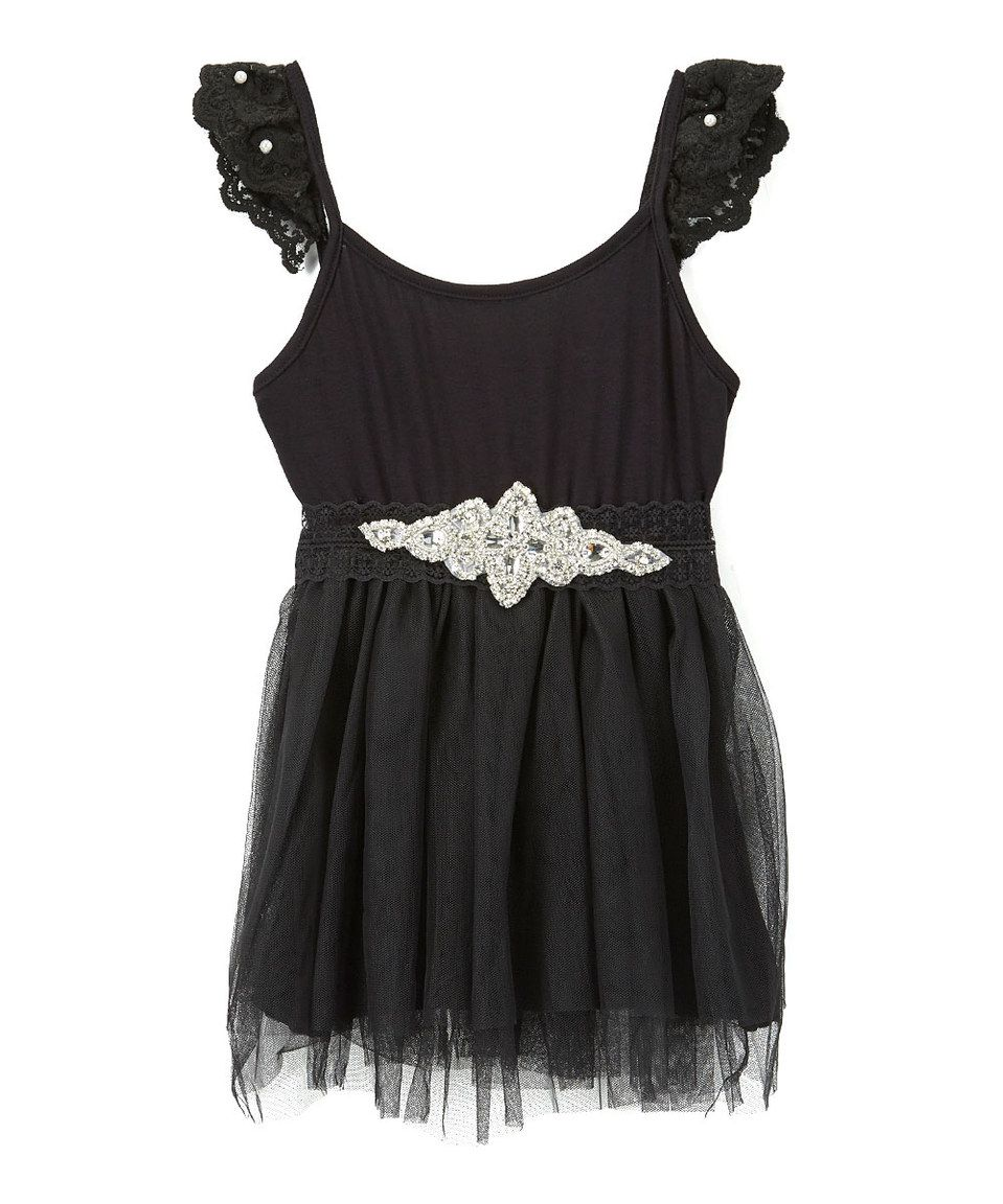 Just Couture Black Embellished Cap-Sleeve Dress - Infant, Toddler & Girls by Just Couture #zulily #zulilyfinds